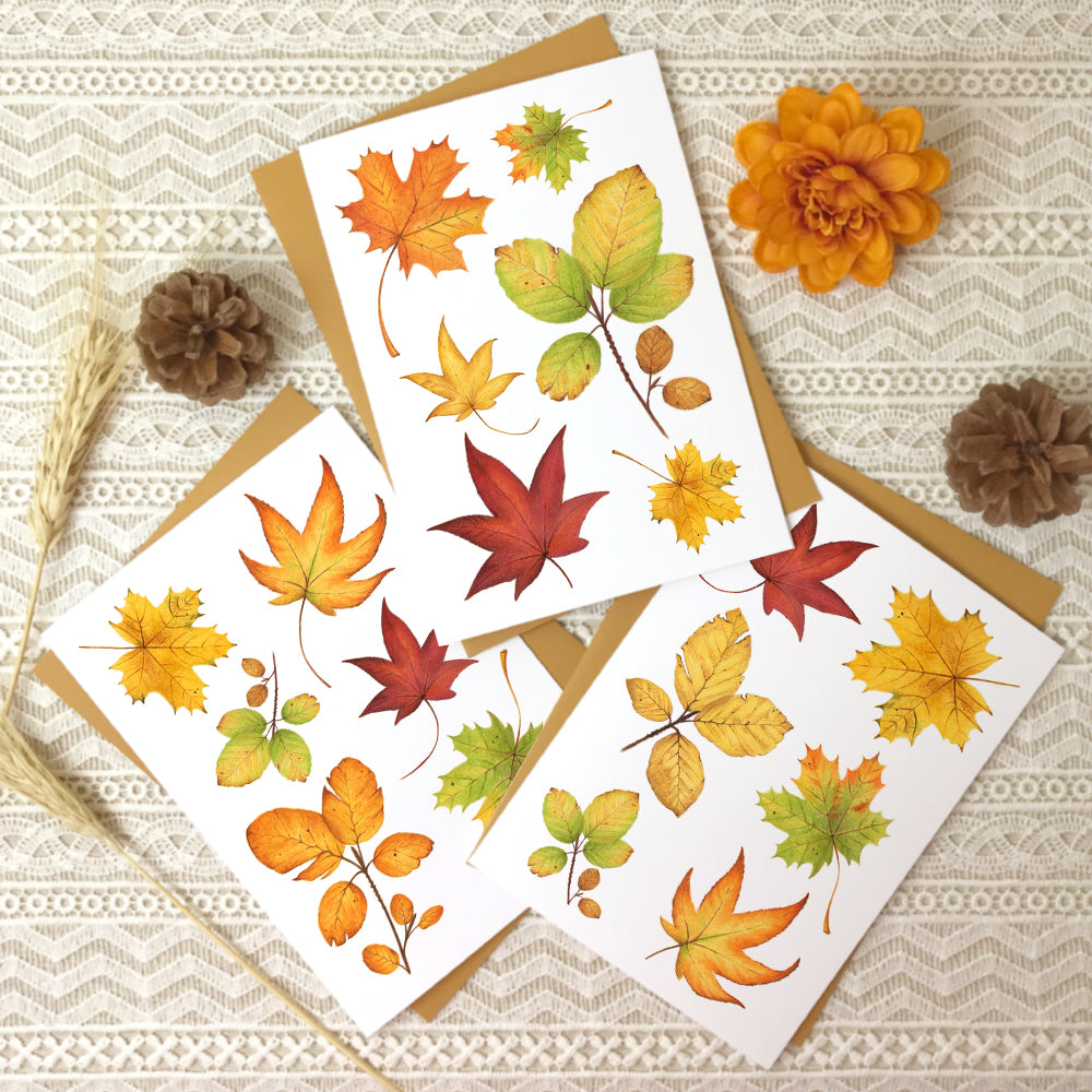 Set of 3 autumn note cards with different collages of fall leaves.
