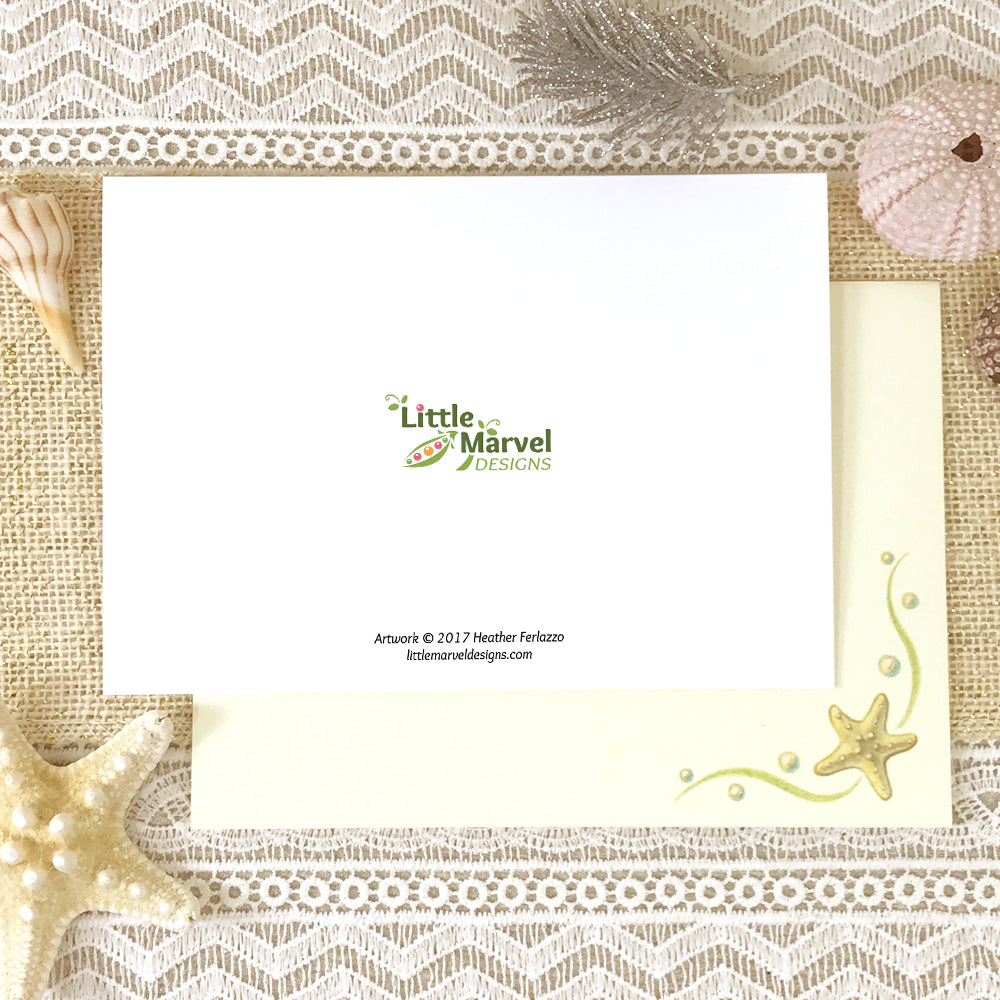"Starfish ""Bright Blessings"" Beach Holiday Card"