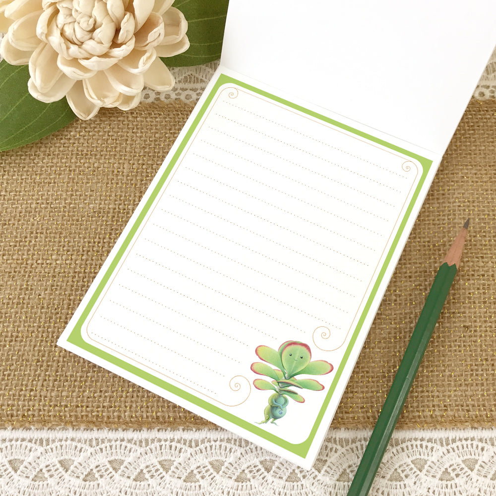 Second page of small lined notepad with illustration of a cute flapjack succulent in the bottom right corner.