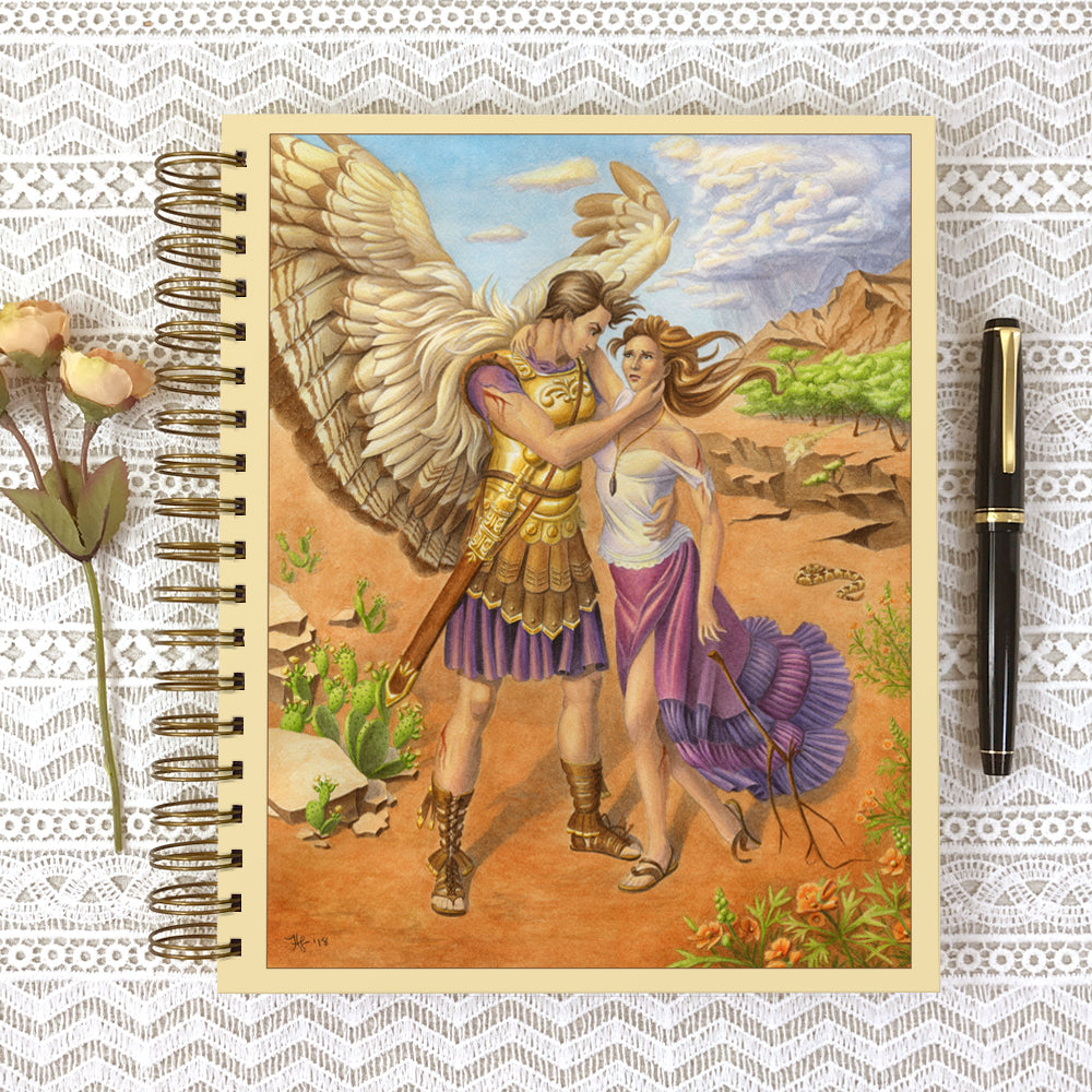Cover of Archangel Gabriel dream or prayer journal. Archangel Gabriel holds up a suffering young woman and lends her his strength.