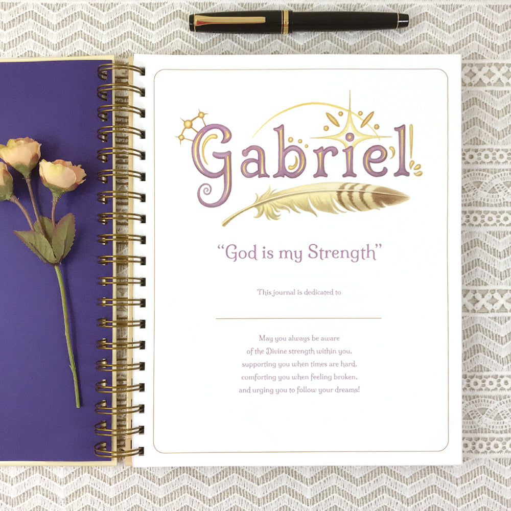 Dedication page of 8x10 Archangel Gabriel dream or prayer journal.