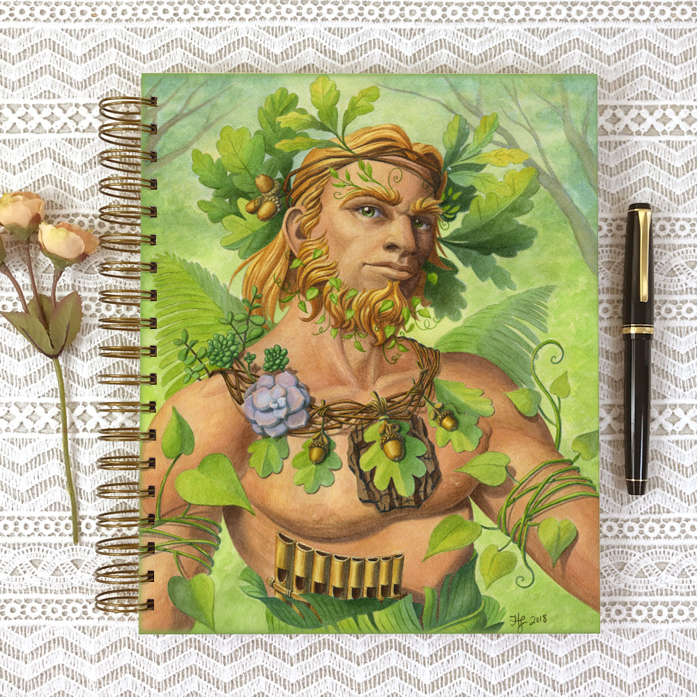 Cover of the Celtic Green Man 8x10 size hardcover journal notebook.
