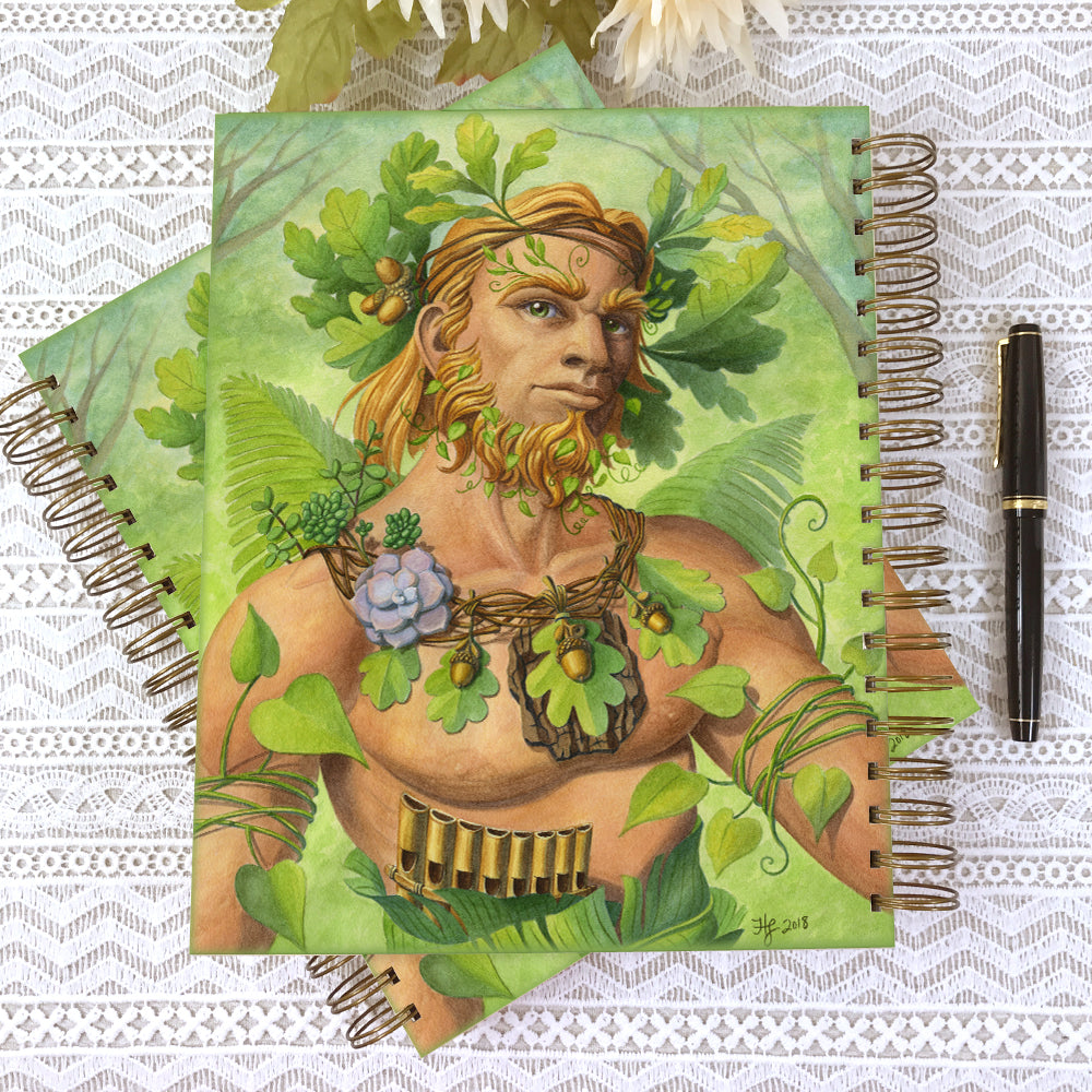 Celtic Green Man Hardcover Journal Notebook - Spiral Bound