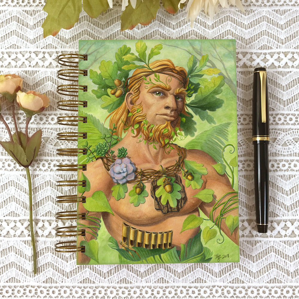 Cover of the Celtic Green Man 5x7 size hardcover journal notebook.