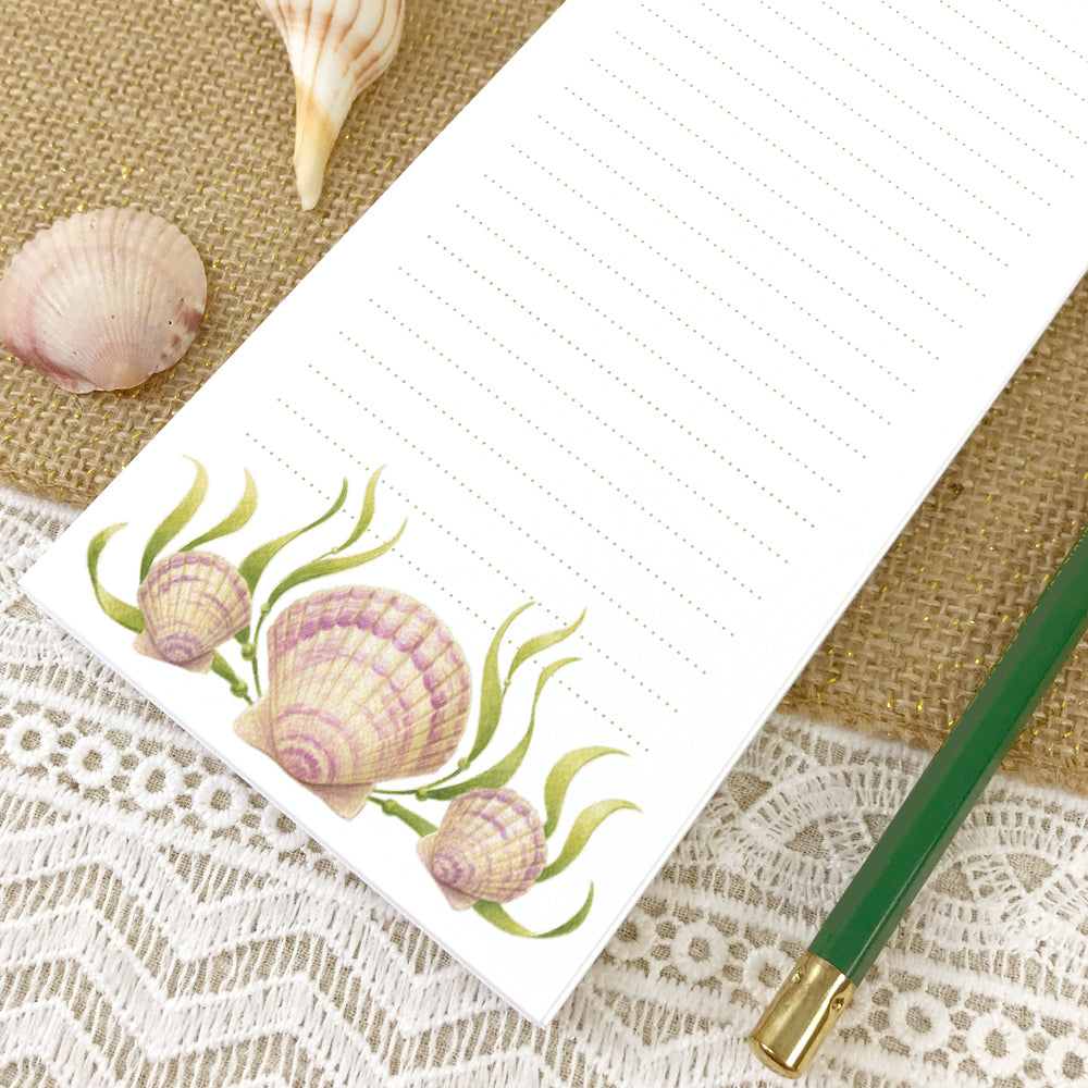 Pink Scallop Seashell Lined Grocery List Notepad