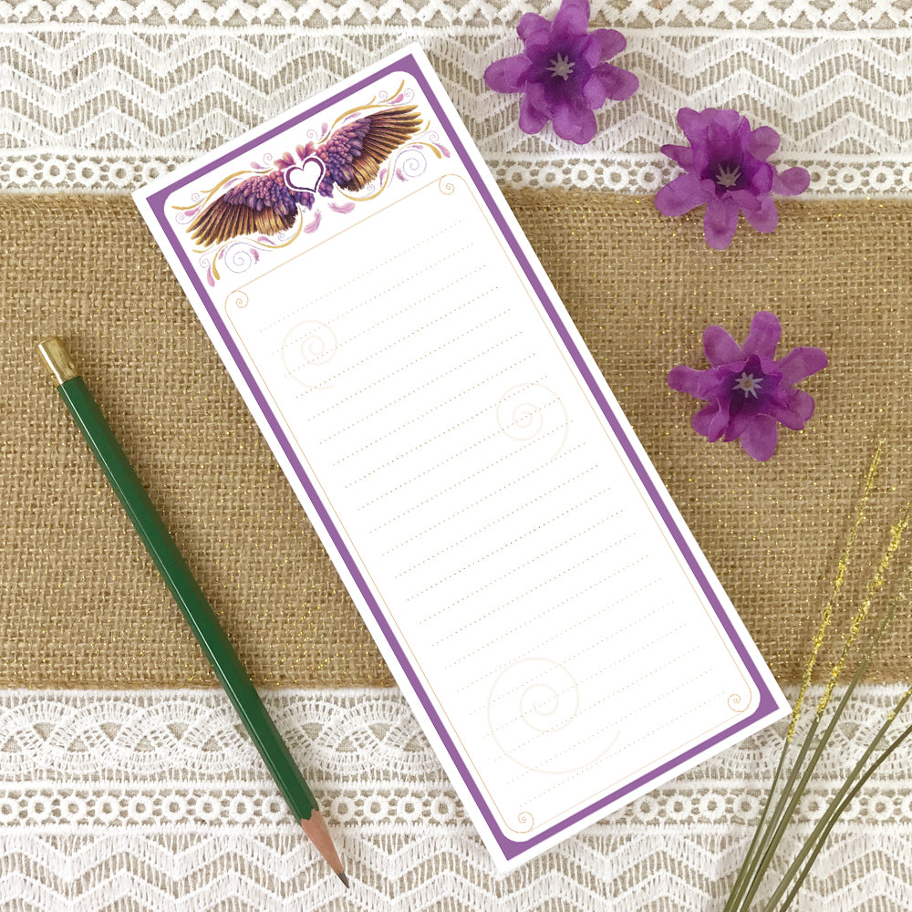 Lined grocery list notepad with purple, pink, gold angel wing artwork from original watercolor painting.