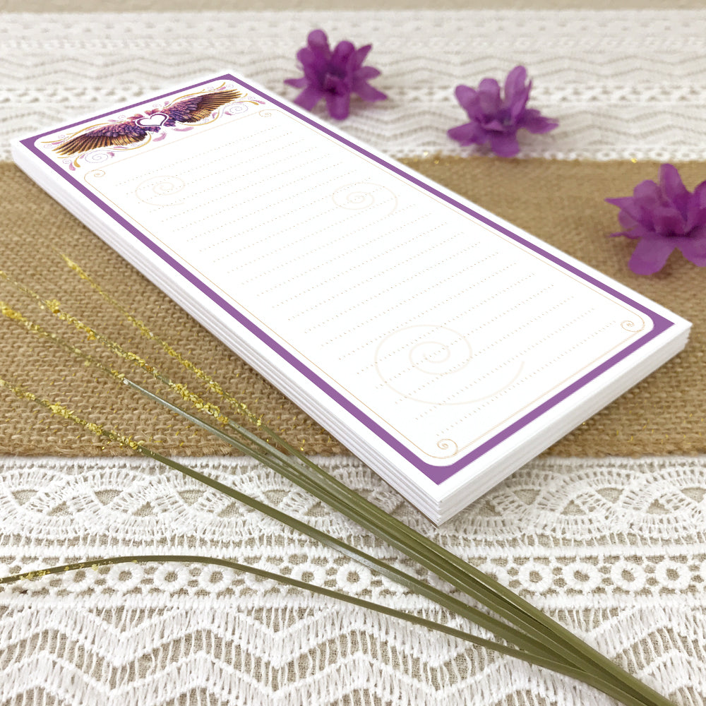 Whimsical Purple Wing Lined Grocery List Notepad