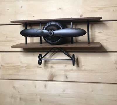Rustic Vintage Style Metal and Wood Aeroplane Shelf Shelving Unit