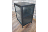 Small Glass Bedside Cabinet Made from metal and glass front