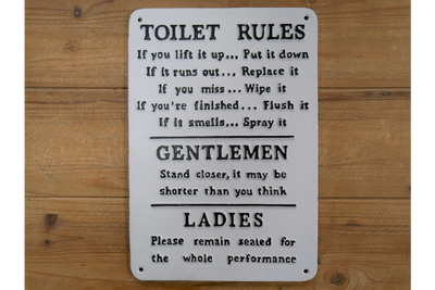 Sign (Toilet Rules) for physical fitness