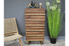 RUSTIC MANGO WOOD BRASS METAL CHEST OF DRAWERS TALL BOY