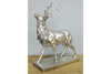 Shimmering Decor Silver Standing Stag On Base