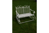 Antique White Metal Victorian Style Garden Rocking Bench