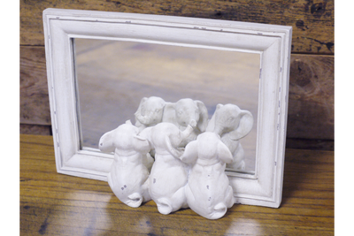 Small Freestanding Lovely Vintage Three Elephants Mirror