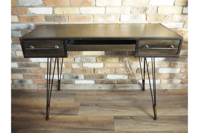 Dark Grey Retro Industrial Metal Hairpin Leg Desk