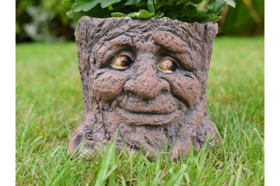 Smiling Decorative Garden Face Magic Fairy Tree Stump Planter
