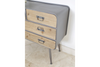 50's Style Wooden & Metal 4 Drawer Small Bed Side Cabinet