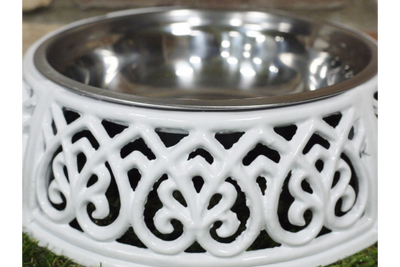 Heavy Cast Crafted White Ornate Decor Dog Dish