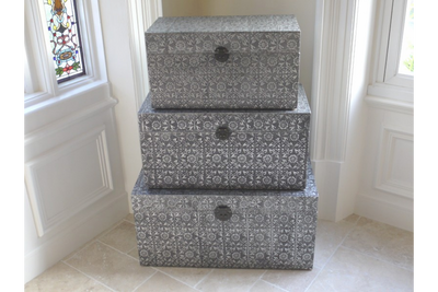 Moroccan Style Embossed Set Of 3 Trunks
