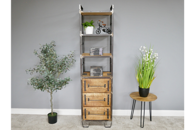 Vintage Elegant Tall Bookcase Industrial Storage