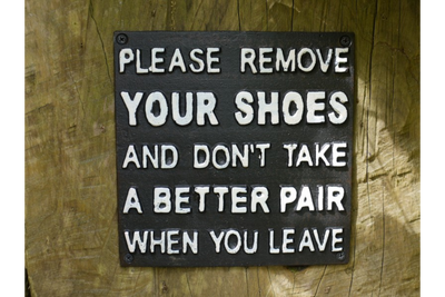 PLEASE REMOVE YOUR SHOES Cast Iron Sign