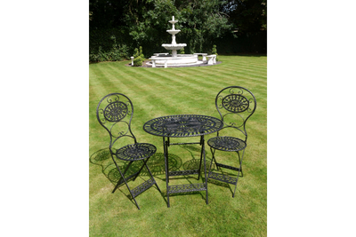 T42's Bistro Style Garden Oval Black Patio Furniture of 3 Set