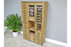 Natural Wooden Vintage Glass Fronted Large Cabinet