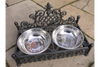 Large 2 Stainless Steel Cast Iron Ornate Dog Dish