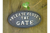 Vintage Cast Iron Black Sign Curved Please Close The Gate