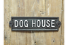 Vintage Rectangular Cast Iron Black Sign Dog House