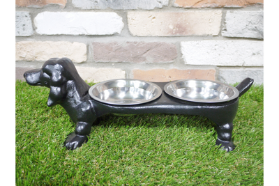 Double Quirky Bronzed Finished Dog Dish