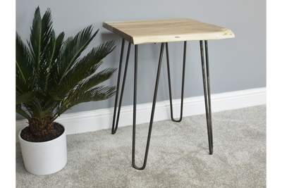 Acacia Rustic Style Wooden Hairpin Living Edge Side Table
