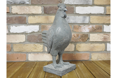 Grey Color Modern Vintage Style Resin Made Cockerel