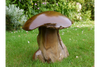 Dark Brown Carved Large Chunky Wooden Mushroom Sculpture Statue