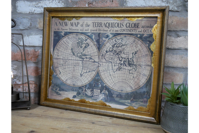 World Map in Frame for marking location and nice decoration