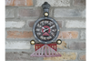 Dark Grey & Red Train Clock