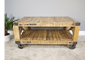 Printed Rustic Wheel Wooden Coffee Table