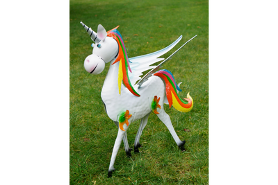 Rainbow Sparkle Metal Unicorn Garden Ornament
