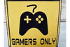 Metal Sign With Paper Design Danger Gamers Only