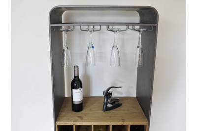 Fir wood & Iron 4 Leg Wine Cabinet with 3 Drawer