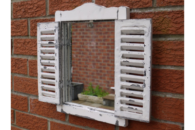 Antique Washed White Wooden Shutter Louvre Mirror