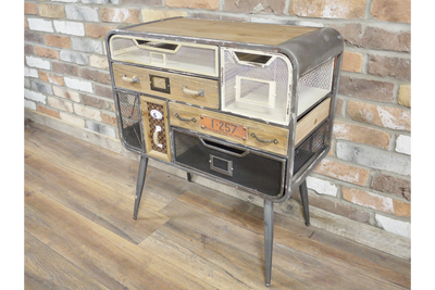 Industrial Rustic Grey Metallic Storage Cabinet
