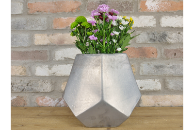 Gorgeous Silver Geometric Flower Holder Vase