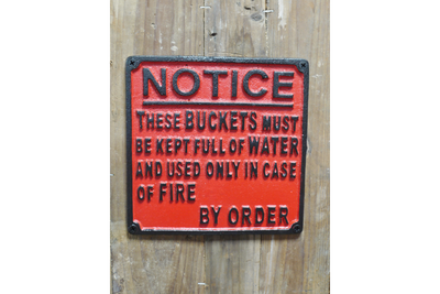 Cast Iron Red Black Notice Sign