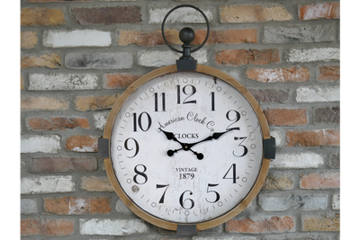 Wooden Metal Black-Brown Wall Mounted Clock