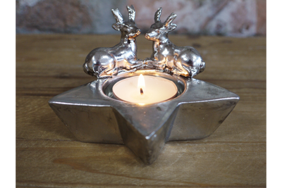 Silver Effect Star Style Stag Candle Holder