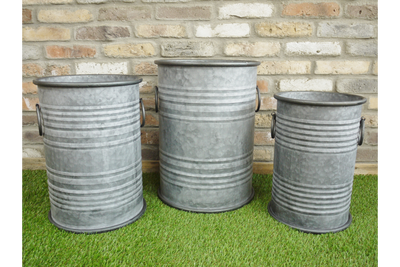 Tall Round Vintage Galvanised Metal Set Of 3 Planters