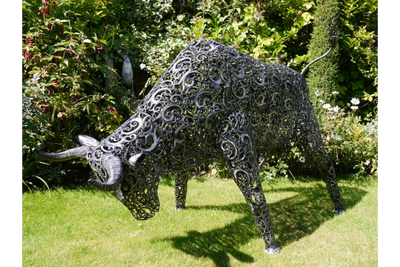 Fighting Position Bull Sculpture