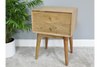SMALL LIVING EDGE ACACIA WOOD RETRO STYLE BEDSIDE CABINET