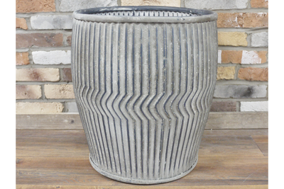 Zigzag Pattern Metal Large Dolly Tub Garden Ornament Planter